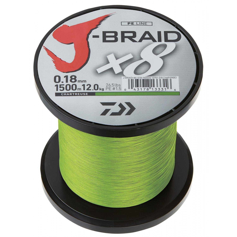 Daiwa J-Braid x8 0,16 mm 9,0 kg 1500 m Chartreuse tressées Ficelle Fil de pêche