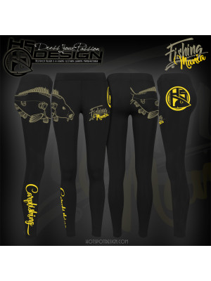 Hotspot Design Leggings Femme Fishing Mania CARPFISHING - Collection Fishing Mania, Tal. M, noir jaune