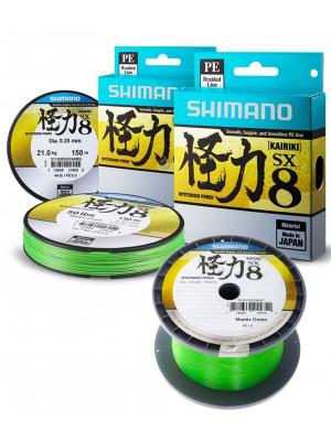 Shimano Kairiki SX8, 150m, Vert fluo, 8x Ligne de pêche tressée