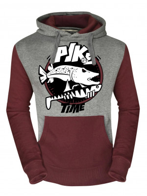 Hotspot Design Chandail Fishing Time PIKE - Collection Fishing Time, Sweat à capuche, vin rouge gris